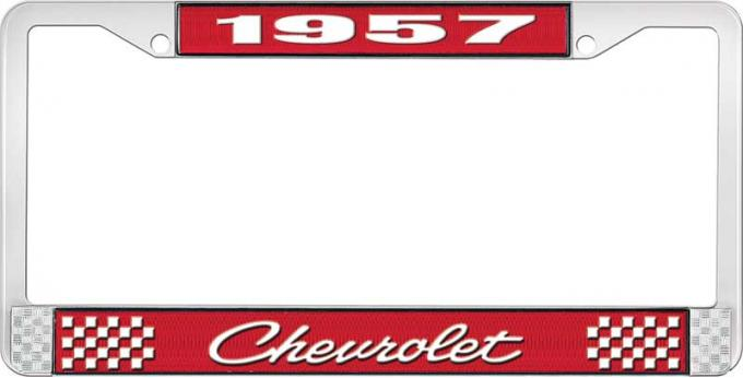 OER 1957 Chevrolet Style #4 Red and Chrome License Plate Frame with White Lettering LF2235704C
