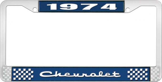OER 1974 Chevrolet Style # 2 Blue and Chrome License Plate Frame with White Lettering LF2237402B