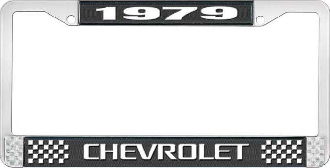 OER 1979 Chevrolet Style # 3 Black and Chrome License Plate Frame with White Lettering LF2237903A