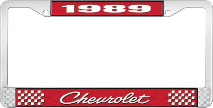 OER 1989 Chevrolet Style # 4 Red and Chrome License Plate Frame with White Lettering LF2238904C