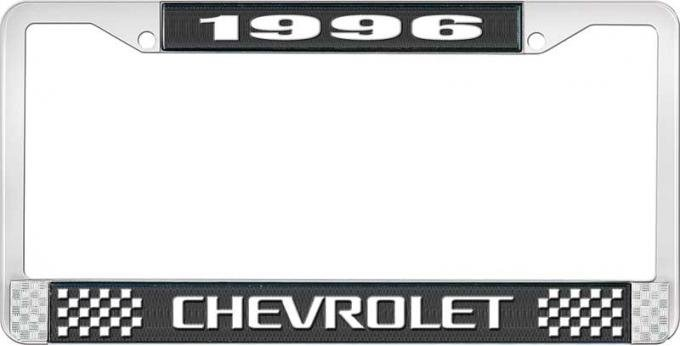 OER 1996 Chevrolet Style # 3 Black and Chrome License Plate Frame with White Lettering LF2239603A