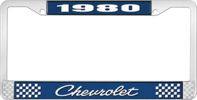 OER 1980 Chevrolet Style # 4 Blue and Chrome License Plate Frame with White Lettering LF2238004B