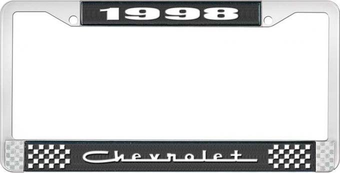 OER 1998 Chevrolet Style # 5 Black and Chrome License Plate Frame with White Lettering LF2239805A
