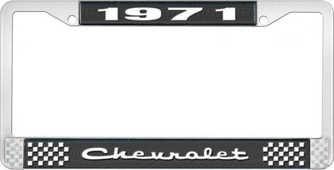 OER 1971 Chevrolet Style # 2 Black and Chrome License Plate Frame with White Lettering LF2237102A