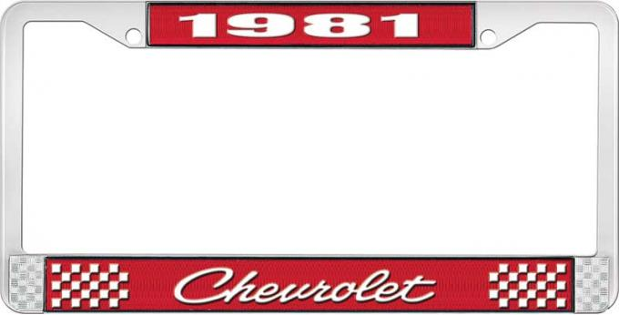 OER 1981 Chevrolet Style # 4 Red and Chrome License Plate Frame with White Lettering LF2238104C