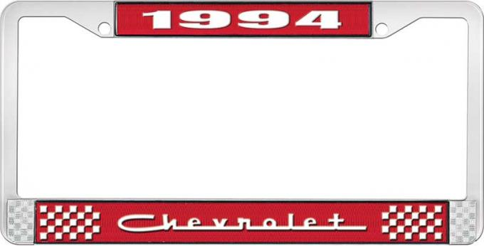 OER 1994 Chevrolet Style # 5 Red and Chrome License Plate Frame with White Lettering LF2239405C