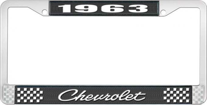 OER 1963 Chevrolet Style #4 Black and Chrome License Plate Frame with White Lettering LF2236304A