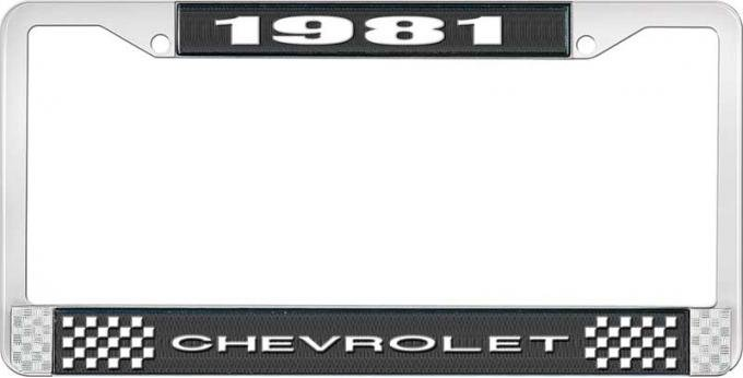 OER 1981 Chevrolet Style # 1 Black and Chrome License Plate Frame with White Lettering LF2238101A