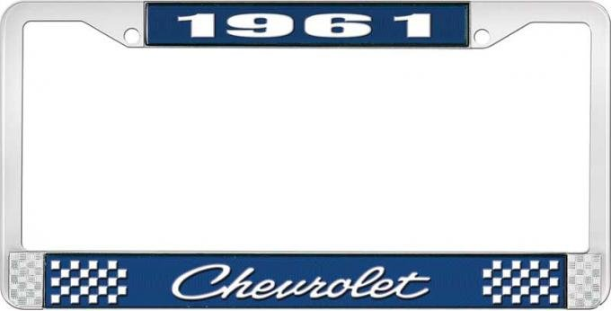 OER 1961 Chevrolet Style #4 Blue and Chrome License Plate Frame with White Lettering LF2236104B