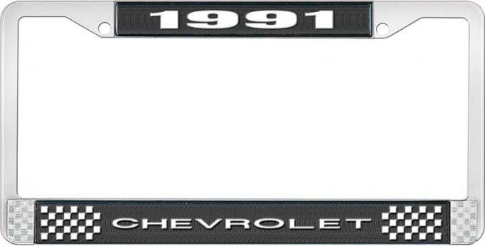 OER 1991 Chevrolet Style # 1 Black and Chrome License Plate Frame with White Lettering LF2239101A