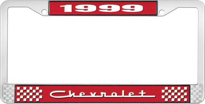 OER 1999 Chevrolet Style # 5 Red and Chrome License Plate Frame with White Lettering LF2239905C