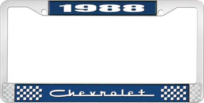 OER 1988 Chevrolet Style # 5 Blue and Chrome License Plate Frame with White Lettering LF2238805B