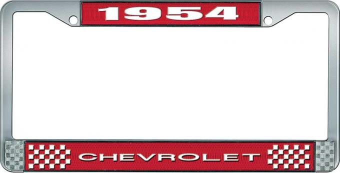 OER 1954 Chevrolet Style #1 Red and Chrome License Plate Frame with White Lettering LF2235401C