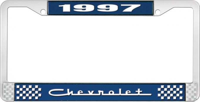 OER 1997 Chevrolet Style # 5 Blue and Chrome License Plate Frame with White Lettering LF2239705B