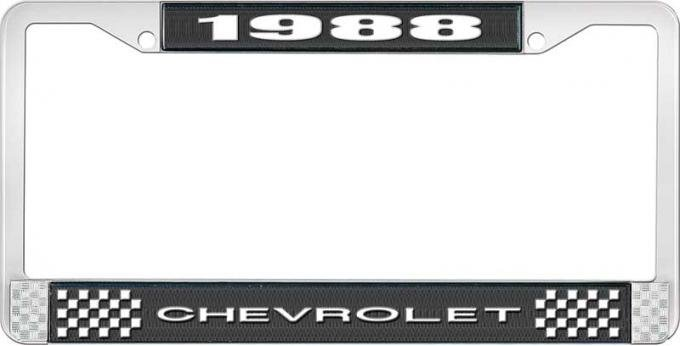 OER 1988 Chevrolet Style # 1 Black and Chrome License Plate Frame with White Lettering LF2238801A
