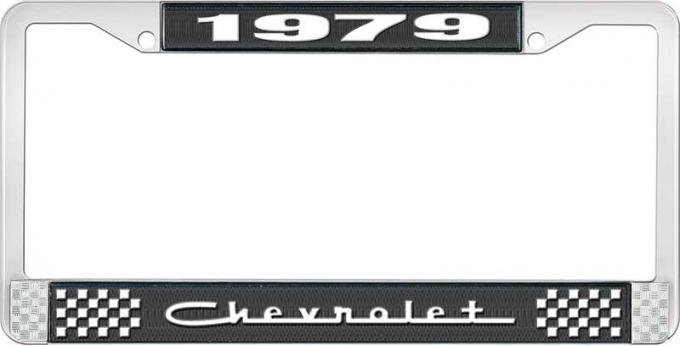 OER 1979 Chevrolet Style # 5 Black and Chrome License Plate Frame with White Lettering LF2237905A