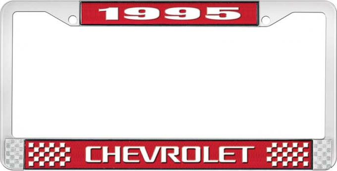 OER 1995 Chevrolet Style # Red and Chrome License Plate Frame with White Lettering LF2239503C