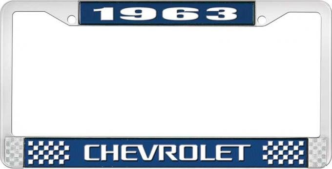 OER 1963 Chevrolet Style #3 Blue and Chrome License Plate Frame with White Lettering LF2236303B