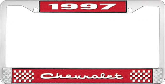 OER 1997 Chevrolet Style # 2 Red and Chrome License Plate Frame with White Lettering LF2239702C