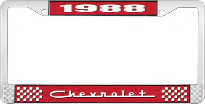 OER 1988 Chevrolet Style # 5 Red and Chrome License Plate Frame with White Lettering LF2238805C