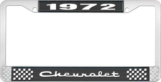 OER 1972 Chevrolet Style # 2 Black and Chrome License Plate Frame with White Lettering LF2237202A