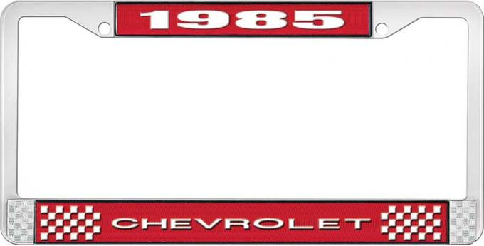 OER 1985 Chevrolet Style # 1 Red and Chrome License Plate Frame with White Lettering LF2238501C