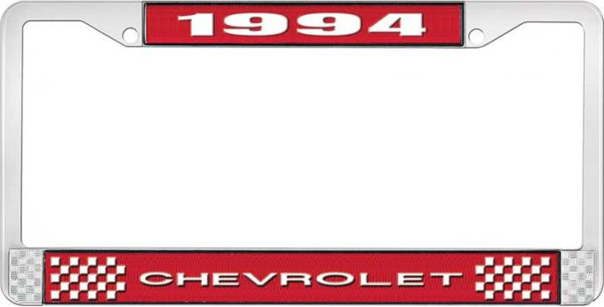 OER 1994 Chevrolet Style # 1 Red and Chrome License Plate Frame with White Lettering LF2239401C