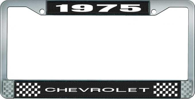 OER 1975 Chevrolet Style # 1 Black and Chrome License Plate Frame with White Lettering LF2237501A