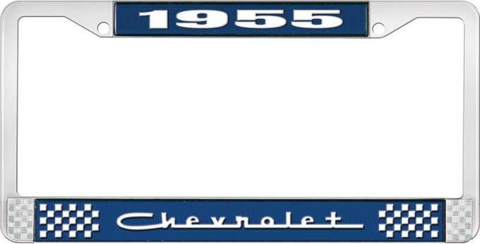OER 1955 Chevrolet Style #5 Blue and Chrome License Plate Frame with White Lettering LF2235505B