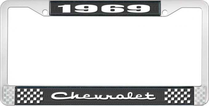 OER 1969 Chevrolet Style # 2 Black and Chrome License Plate Frame with White Lettering LF2236902A