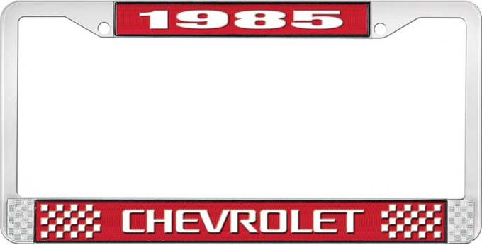 OER 1985 Chevrolet Style # 3 Red and Chrome License Plate Frame with White Lettering LF2238503C