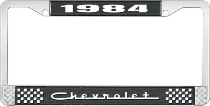 OER 1984 Chevrolet Style # 5 Black and Chrome License Plate Frame with White Lettering LF2238405A