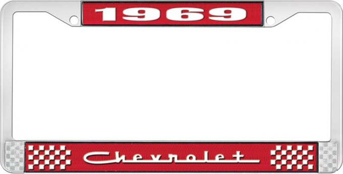 OER 1969 Chevrolet Style #5 - Red and Chrome License Plate Frame with White Lettering *LF2236905C