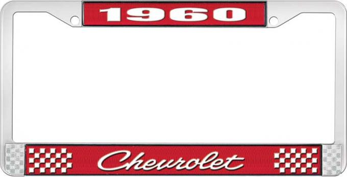 OER 1960 Chevrolet Style #4 Red and Chrome License Plate Frame with White Lettering LF2236004C