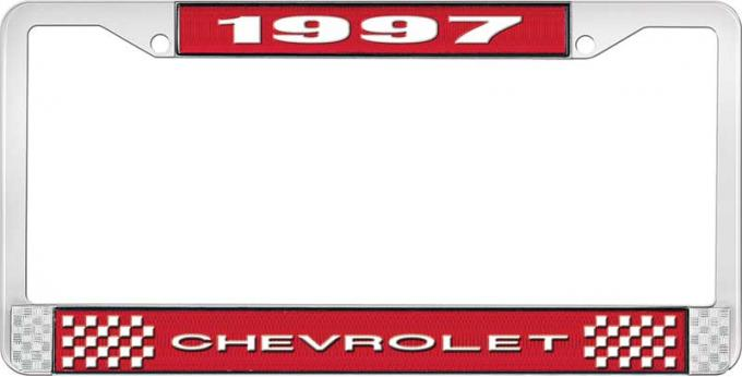 OER 1997 Chevrolet Style # 1 Red and Chrome License Plate Frame with White Lettering LF2239701C