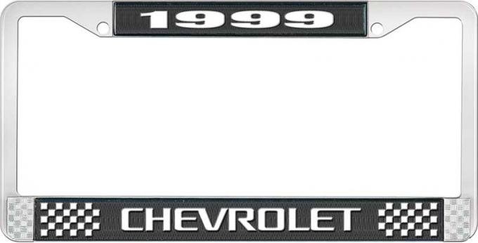 OER 1999 Chevrolet Style # 3 Black and Chrome License Plate Frame with White Lettering LF2239903A