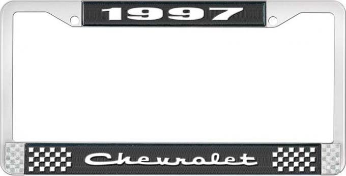 OER 1997 Chevrolet Style # 2 Black and Chrome License Plate Frame with White Lettering LF2239702A