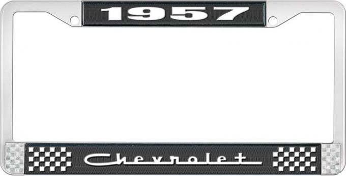 OER 1957 Chevrolet Style #5 Black and Chrome License Plate Frame with White Lettering LF2235705A