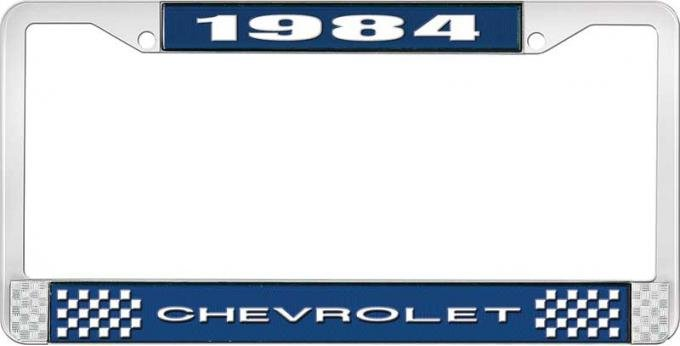 OER 1984 Chevrolet Style # 1 Blue and Chrome License Plate Frame with White Lettering LF2238401B