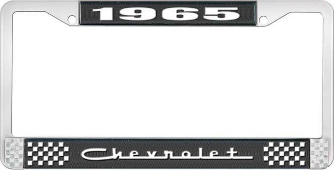 OER 1965 Chevrolet Style #5 Black and Chrome License Plate Frame with White Lettering LF2236505A