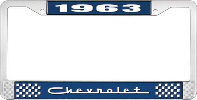 OER 1963 Chevrolet Style #5 Blue and Chrome License Plate Frame with White Lettering LF2236305B
