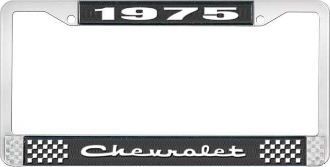 OER 1975 Chevrolet Style # 2 Black and Chrome License Plate Frame with White Lettering LF2237502A
