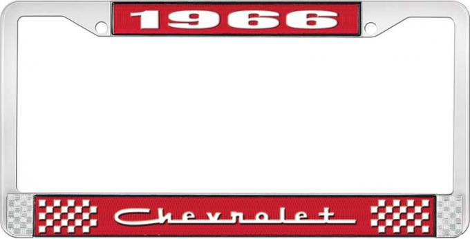 OER 1966 Chevrolet Style #5 Red and Chrome License Plate Frame with White Lettering LF2236605C
