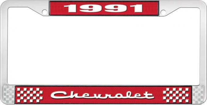 OER 1991 Chevrolet Style # 2 Red and Chrome License Plate Frame with White Lettering LF2239102C
