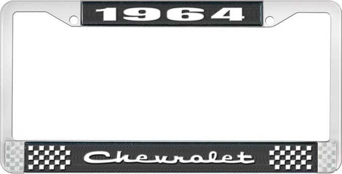 OER 1964 Chevrolet Style #2 Black and Chrome License Plate Frame with White Lettering LF2236402A