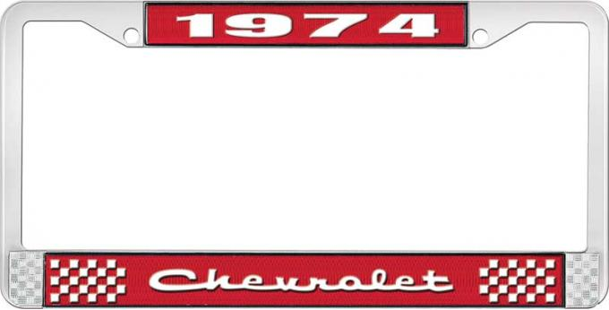 OER 1974 Chevrolet Style # 2 Red and Chrome License Plate Frame with White Lettering LF2237402C