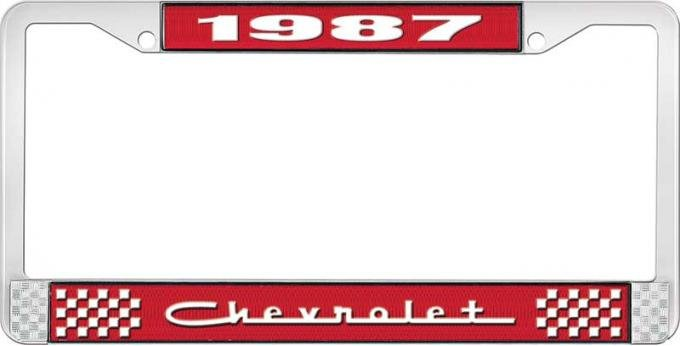 OER 1987 Chevrolet Style # 5 Red and Chrome License Plate Frame with White Lettering LF2238705C