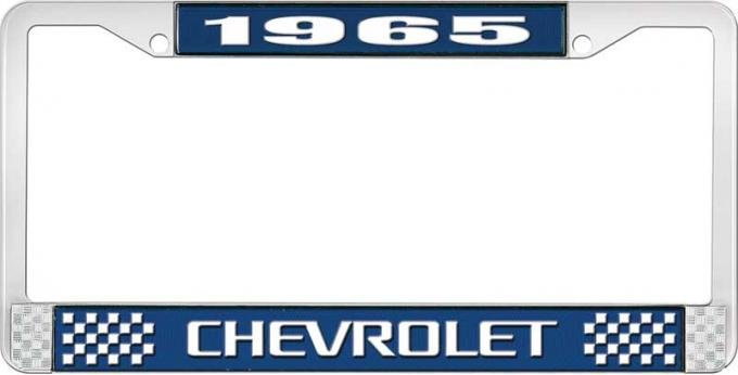 OER 1965 Chevrolet Style #3 Blue and Chrome License Plate Frame with White Lettering LF2236503B