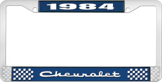 OER 1984 Chevrolet Style # 2 Blue and Chrome License Plate Frame with White Lettering LF2238402B
