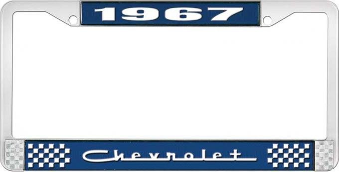 OER 1967 Chevrolet Style #5 Blue and Chrome License Plate Frame with White Lettering LF2236705B